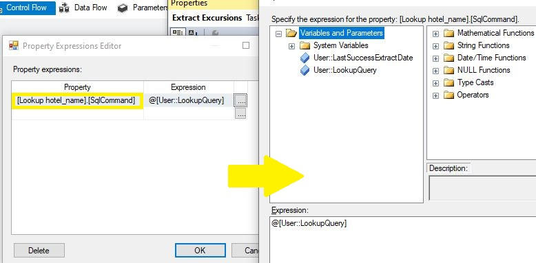 ssis dinamic look up data flow property expressions sqlCommand